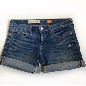 Anthro pilcro distressed roll up denim shorts 25